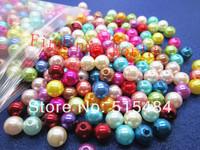 Free Shipping 1000 PCs Random Mixed Imitation Pearl Round Beads 6mm Dia.Wholesale (W00814 X 1)