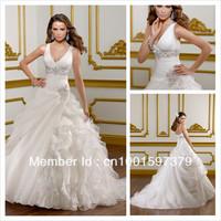 Fashion Hot V Neck Chapel Organza Ball Gown Wedding Dresses Bridal Gowns Size Custom
