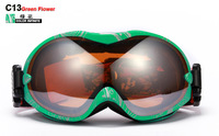 Hot sale 2012 Free shipping wholesales/retail Drip brown slice Winter anti-ultraviolet& fog skiing glasses/snow goggle Glasses