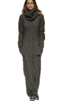 Free Shipping  2014 Autumn Winter  Women Europe Style women's long knitted sweater dress, 4Coloors gray/black/wine red/beige