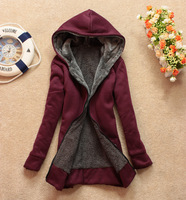 New women 's sweater thicken hooded wool zipper sweater Ms. Sweater women thickened free shiping