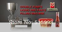 50L hopper+ double pumps+ Automatic horizontal type pneumatic double nozzles Liquid paste filling machine for sale