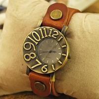 2014 new unisex fashion quartz wristwatches with leather strap men and women's vintage Clock retro dress watches cheap wholesale
