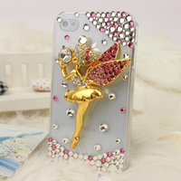 Free shipping/New Fashion Bling Crystal Rhinestone Hard Cover Case for iphone4/4S elves angel girl pink  hot Sell Christmas gift