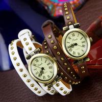 lot wholesale discount support beautiful leather bracelet strap 2014 favorite vintage fashion women's quartz wrist dress watches