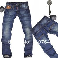 Men's 2014 D2 Jeans Stylish Design Straight Slim Fit Trousers Scratch Blue Denim Pants For Men Free Shipping