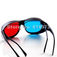 Wholesales Sales 10 pcs/lot Acrylic Lens Anaglyphic Blue Red Color 3D Glasses for short-sighted Watching 3D TV  Movie Pictures