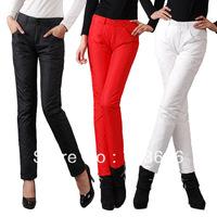Free shopping 2013 Down trousers women's down pants female skinny pants slim plus size plus velvet thickening pencil pants