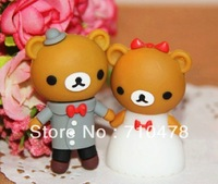 CC62  Wholesale Full Capacity Cartoon Cute Couple Bear 4GB 8GB USB 2.0 Flash Pen Drive Memory stick Car/Thumb/pen Free Shipping