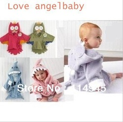 Free Shipping Owl style Baby's bath robe Fin design hooded bathrobe for children animal design baby lovely robe towel 6pcs/lot(China (Mainland))