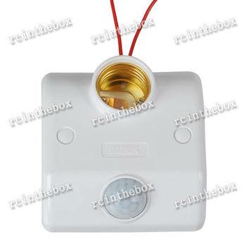 220V Infrared Motion Sensor Automatic Light Lamp Bulb Holder Stand Switch White