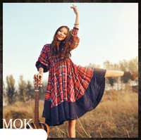 [LYNETTE'S CHINOISERIE - MOK ] Original Design Red Plaid Thick Cotton Color Block Corduroy Women's Doll Dress; Lady's Dress