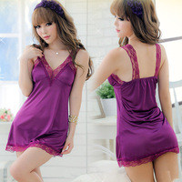 Satin Pajamas for Women Langerie Lace Night Dress for Sleep Wear Sexy Lingerie Hot Erotic Nightwear set Purple Night Gowns