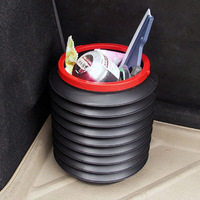 Free shipping Car trash Bin small Trash Dustbin Litter Can Container,foldable dustbin with Carry belt-factory price