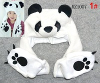 Free Shipping 2012 New lovely Style 1 pc New Polar Bear Mascot Fancy Costume Fashion Plush winter animal Hat scarf Gloves