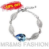 Free Shipping Hotselling Cheap Price 18KGP Austrian Crystal Leaf Charm Link Chain Bracelet bangle fashion jewelry Bracelets 4334