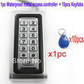 RFID Proximity Entry Lock Door Access Control System  1pc Waterproof Metal Access Controller with 10 pcs Keyfobs  PY-kit600EM-W