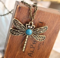 (min order $10 mix)  Restore ancient ways dragonfly hollow out necklace female+ Free Shipping