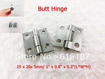 Silver Tone  Drawer Mini Cabinet Butt Hinge