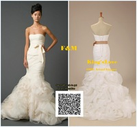 Factory outlet center F&M Fashion Mermaid Cut Georgette with scoop neckline Wedding Dress Designer Bridal Gown