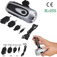 FREE SHIPPING 3LED hand crank dyanmo flashlight with phone charger / 3LED hand cranking flashlight  charge to phone