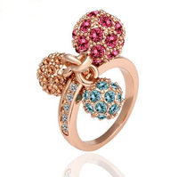 Christmas Gift 18K Gold plated Fashion Rings With Colorful Rhinestone For Women