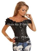 Hot Selling Drop Shipping Black Brocade Pattern Boned Corset Vest Tops Sexy Lingerie Corset