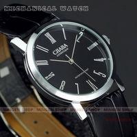 MINGEN SHOP - Classica Black pu leather Ultra-thin Men Dress Cuff Mechanical watch H0005