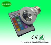 super bright 3w colorful rgb base e27 spotlights with  IR remote control High power multi colors e27 spotlights free shipping