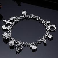 DB119 //Wholesale Free shipping 925 jewelry silver plated Bracelet , fashion hot sale charm 13 Pendants Bracelets / bangles