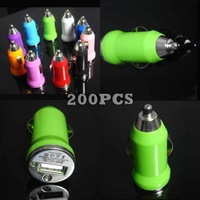 Color USB Mini Car Charger for iPhone 5 200pcs/lot Express Shipping