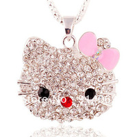 N1240025 Mix order $15  2012 New Fashion Costume Jewelry Cute Hello Kitty Cat Pendant Necklaces chain Gift Free shipping