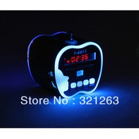 Apple Shape with LED light Digital portable Speaker MP3 Player+ FM Radio Line In/ Out sound box Free shipping