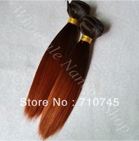 Tone two color 1b/27# 12inch 100% human hair silky straight weaving Peruvian Hair Weft 100g/PCS.