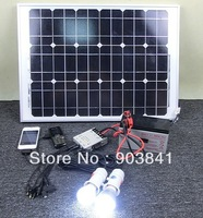 100W solar system,including 100w solar panel,5A integration controller,300w inverter,2pcs LED lamp,mobile charger,free shipping