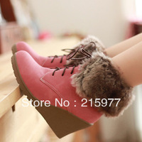 Freeshippinh 2013 winter boots all-match round toe wedges high-heeled boots lacing casual snow boots women's shoes fur boots