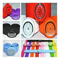 DHL Free shipping Wholesale Fashion Silicone Slap watch Jelly slap on watch  50pcs/lot