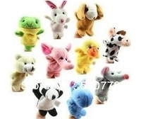 Free Shipping  Hotsell  20pcs/lot Baby Plush Toy Finger Puppets Talking Props 10 animal group