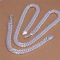 WS129  10mm 925 Silver Necklace, Bracelet Set /Men's jewelry supplies wholesale , 925 sterling silver necklace for men