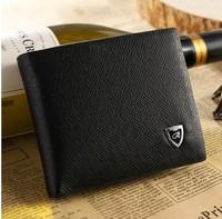 Men's wallet genuine black&brown leather wallet cowhide short design check wallet purse card holder WT-002