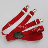 Unisex Adjustable Clip-on Elastic suspenders Braces Red 2014 L032