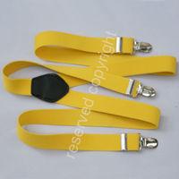 Adjustable Clip-on Elastic suspenders Braces Yellow NR 2012 L029