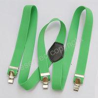 Green Elastic Clip-on Solid Women Men Braces Suspenders 2012 L030