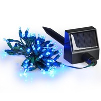 Waterproof Outdoor Solar Powered Blue Light 60 LED Garden Christmas Party String Fairy Decoration Strip Lamp