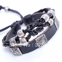 New Fashion Free Shipping Retro Style Black Leather Bracelet or Wristband Genuine Cowhide by Handmade