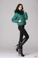 2013 army green short winter coat plus size with fur collar
