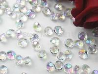Free shipping  6mm chromatic AB COLOR Crystal Acrylic table Diamond Confetti Wedding Party Decoration 1000pcs/lot