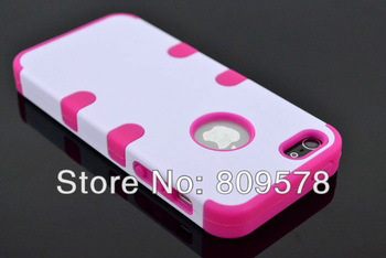 PC+Silicon Hybrid High Impact shockproof Rubberized Case For Apple iphone5 5G 5th mobilephone cover free shipping