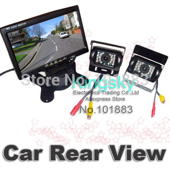 "2 x Car Parking Reverse Backup Camera 18 LED IR Sensor+ 7"" TFT LCD Monitor Rear View Kit free 10m video cable for Bus Truck"