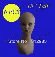 "wholesale-6PCS-15"" Tall PVC rubber mannequin manikin styrofoam head display wig/necklace/cap/hat PKL"